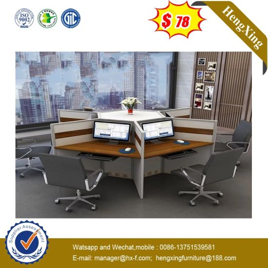 Round Shape Wooden Office Computer Desk Staff 4 Seats Workstation pictures & photos