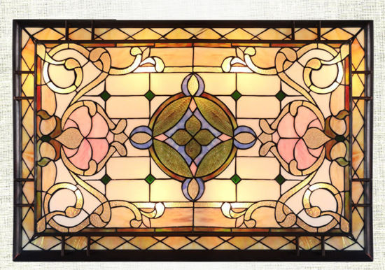 Rectangular Stained Glass LED Ceiling Lights Tiffany Ceiling Lamp