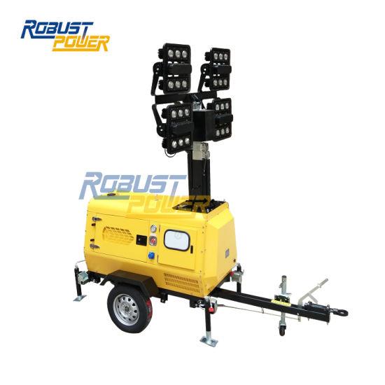 China Kubota Powered LED Mobile Light Tower Price and Mobile