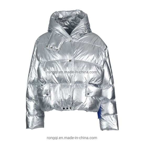 Ladies' Short Shinny Coating Down Feather 90/10 Hoody Fashion Casual Jacket