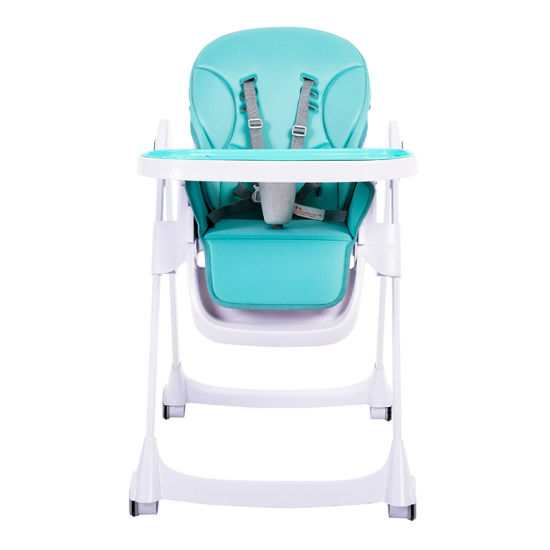 Portable Easy Moving Foldable Plastic Infant Dining Feeding Green High Baby Chair