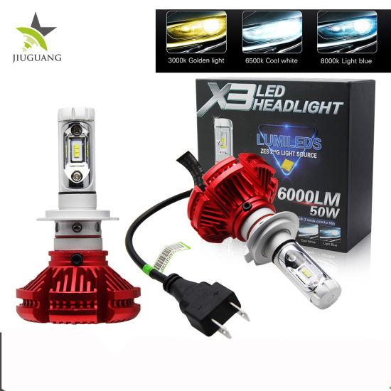 Wholesale High Low Beam 12V 24V LED H4 Headlight Bulbs, Multi Colors 3000K 6500K 8000K X3 LED H4