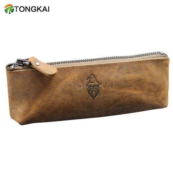 Luxury Valued Gifts Genuine Cow Leather Pen Pencil Case with Zipper