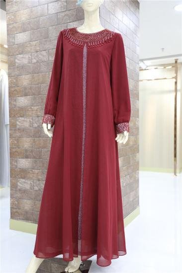 7eca71cada3 Dubai Long Sleeve Loose Muslim Elegant Maxi Abaya Burqa Plus Size Dress for  Women