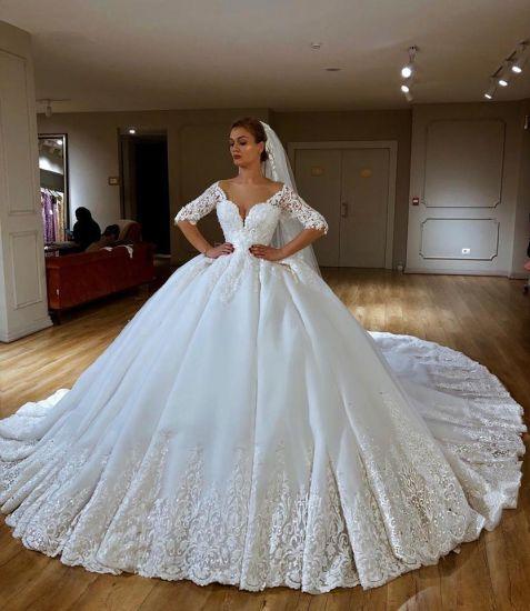1/2 Sleeves Bridal Ball Gown Lace Beaded Custom Arabic Wedding Dress 2021 SA20178