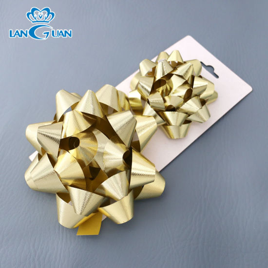 Embossing Gold Christmas Door Bow Large Gift Bow for Decoration