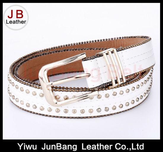 fashion Women PU Belt with Bradde Chain