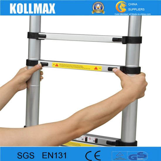 3.8m Telescopic Ladder with Stabilizer Bars and Finger Safety Gap pictures & photos