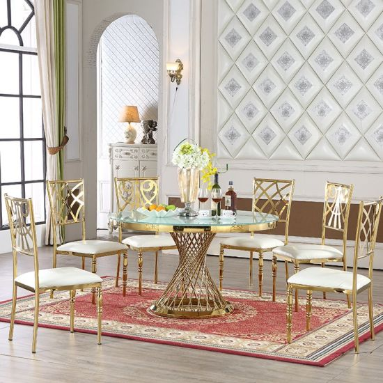 Modern Royal Stainless Steel Dining Set with Six Chairs and Table pictures & photos