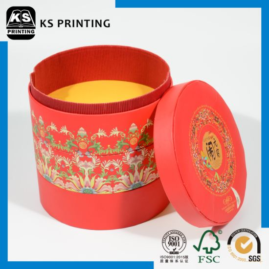 Cylindrical Red High Quality Carton Gift Box Food Packaging Box pictures & photos