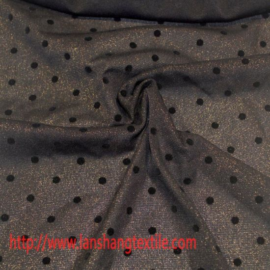 Nylon Fabric DOT Flocking Cloth Chemical Fabric Garment Fabric for Dress Full Dress Shirt Curtain pictures & photos