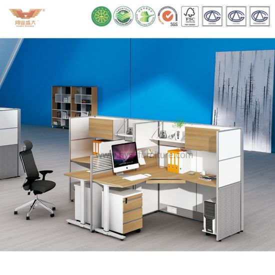 Elegant White Wooden Design Office Workstation with High Cabinet (H15-0813)