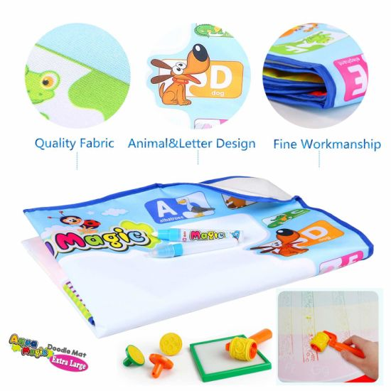 Aqua Magic Large Doodle Mat Educational Water Drawing Mat For Kids Toy Toddler Painting Board With 2 Magic Pens 1 Magic Brush And Drawing