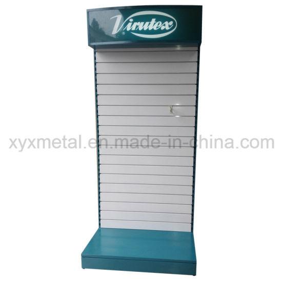 Customized Metal Slat Wall Board Slatwall Tools Exhibition Display Rack with Lighting