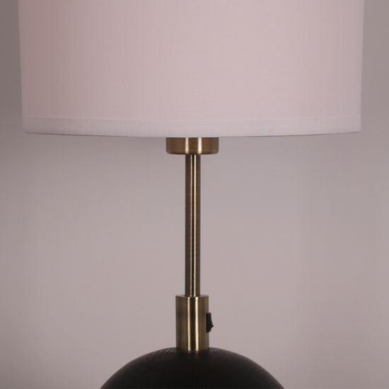 White Fabric Shade Table Lamp, Round Lamp Shades Table Lamps