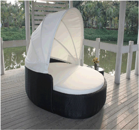 Outdoor Sunbed Rattan Furniture Round Daybed for Beach Rattan Sun Lounge with Canopy pictures & photos