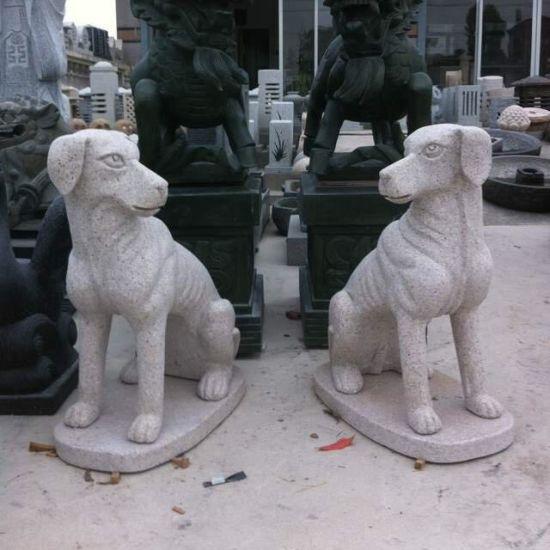 Hand Carved Granite Guardian Dog Sculpture for Garden