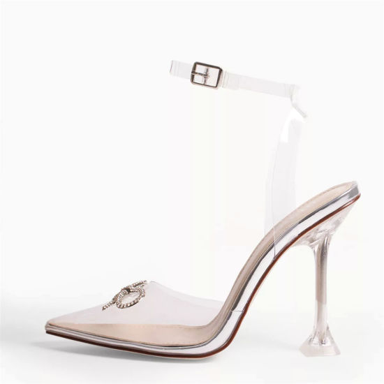 PVC Women Shoes Pumps Crystal Perspex Clear High Heels Lady Shoes Sandals