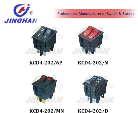 Kcd4-202 Double Key Rocker Switch 6A 250VAC Dpdt Rocker Switches