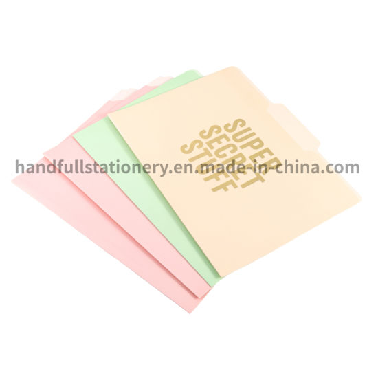 High Quality Eco-Friendly A4 Size Cheaper Custom Color Paper File Folders for School Office