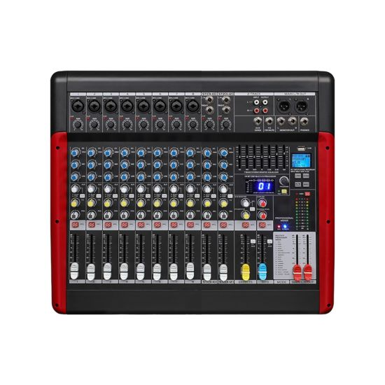 Professional 8 Mono+2 Stereo 10 Channel DSP Audio Mixer with 48V Phamton Power Supply