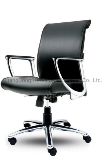 Black Leather Ergonomic Office Chair Computer Metal Chair (HC-Coler)