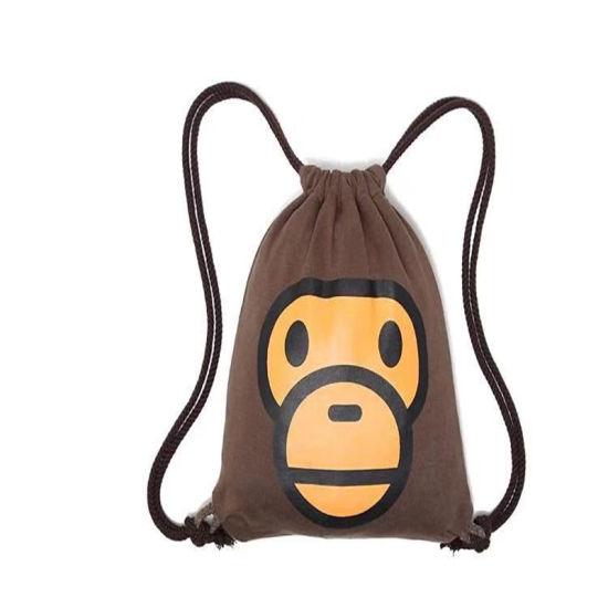 Fashion Cheap Custom Plain Cotton Drawstring Backpack Bag with Logo