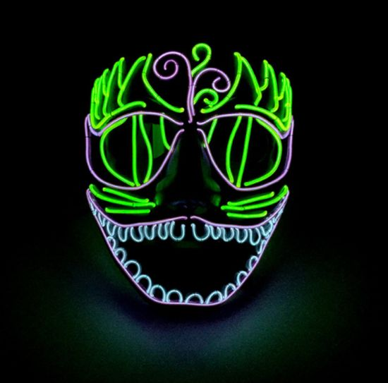 EL Mask Halloween and Screaming Party Neon LED Flash Mask