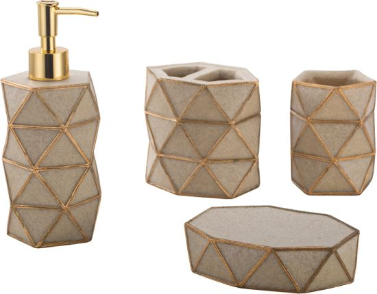 Top Selling Home Decoration Polyresin Bathroom Accessory Set