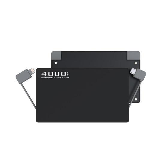Built in Cable 4000mAh Portable Slim External Battery Mobile Phone Power Bank