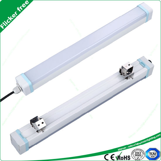 IP65 Waterproof Exterior Hanging Batten Linear LED Tri-Proof Light for Food Factory