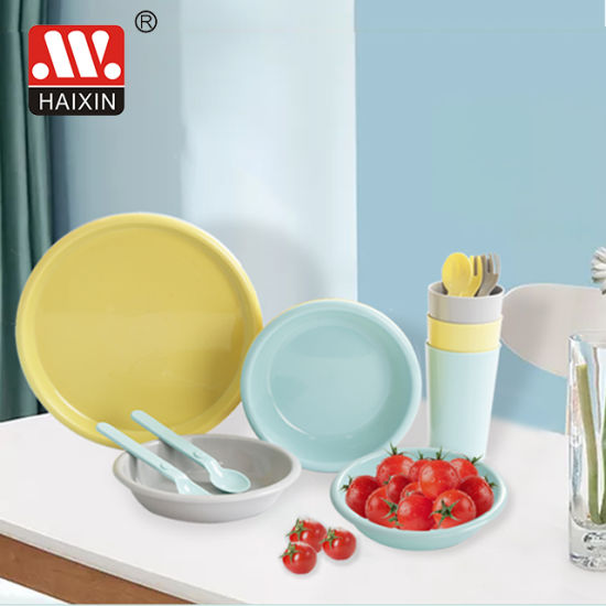 Haixing Newest Plastic Kids Food Grade Dinner Tableware Set