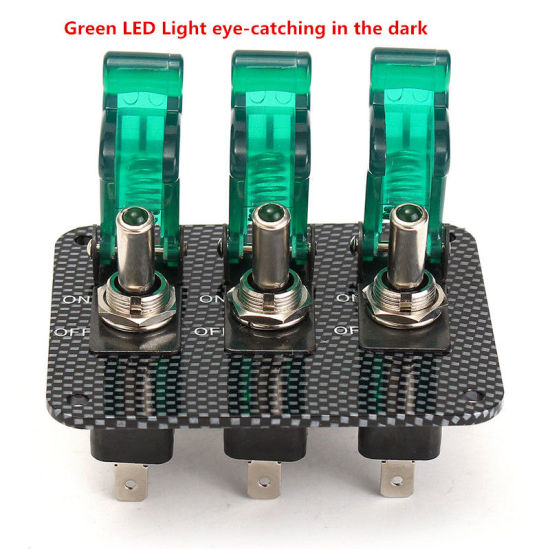 12V Red LED 3 Toggle Switch Panel Carbon Fiber For Race Car Truck Ignition