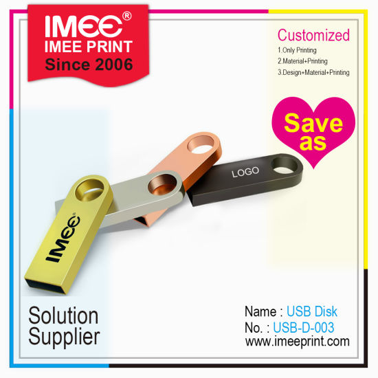 Imee Logo Printing Multi Shape Custom Design Key Chain Metal USB Flash Drive