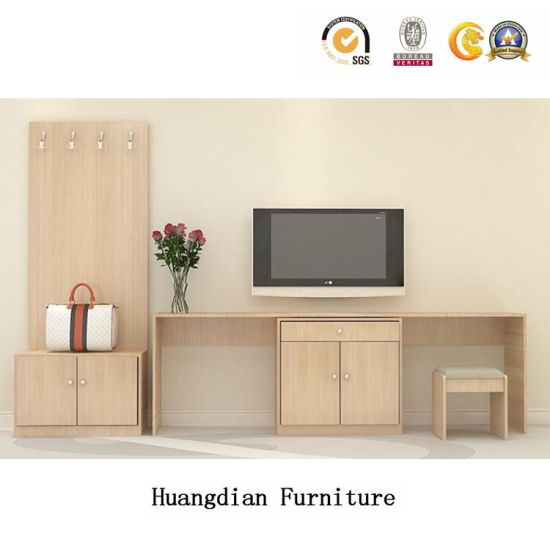 Customized Hotel Bedroom Furniture Luggage Rack TV Cabinets with Writing  Table Set (HD1206)