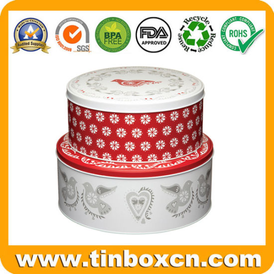Metal Gift Box Packaging Round Cake Tins for Food Storage pictures & photos