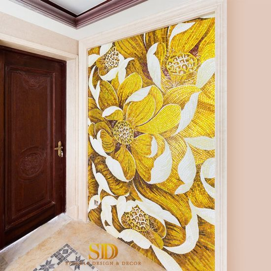 China Master Bathroom Wall Decor Pink Lily Flowers Art Glass Mosaic Wall Patterns China Mosaic Art Glass Flowers Mosaic Wall Patterns
