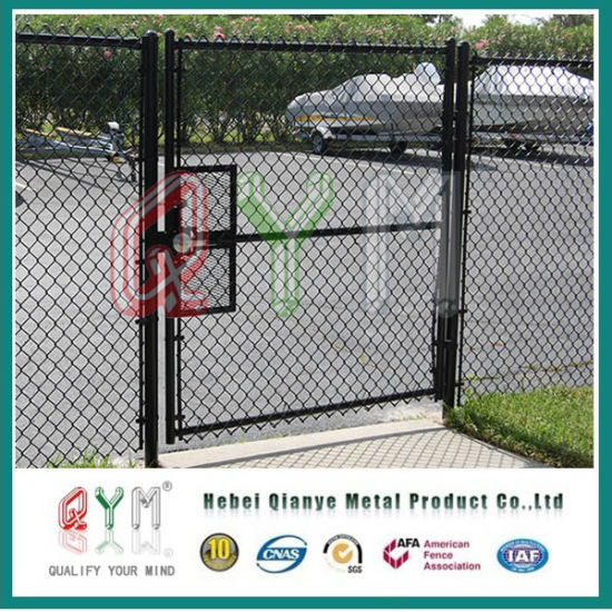Black Powder Coated Chain Link Fence And Gates Metal Panels For