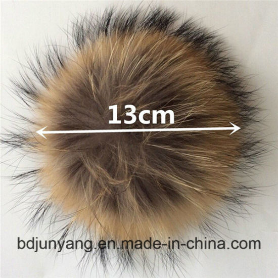 6010af78a24 China Hot Selling Raccoon Fur POM Poms with Button for Hat - China ...