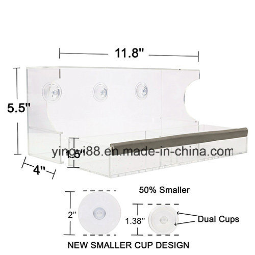 Wholesale Crystal Clear Acrylic Bird Feeder with Suction Cup pictures & photos