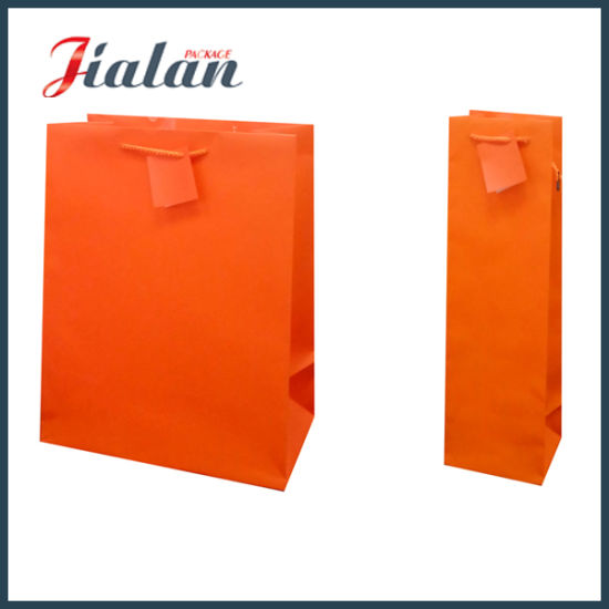 Orange Color Custom Made Logo Cheap Pantone Printed Paper Bag pictures & photos