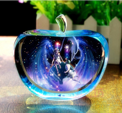 Crystal Apple Craft Colorful Printed Gifts for Valentine's Birthday Wedding Decoration
