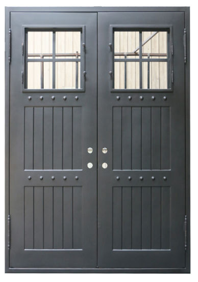 Square Top Iron Exterior Door with Tempered Glass Nice Design pictures & photos