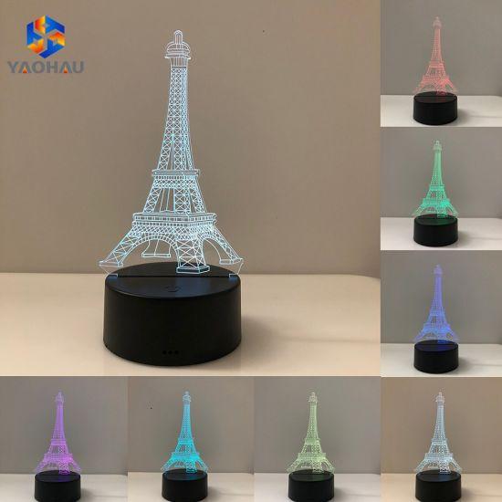 Night Illusion Eiffel Flashing Lights Paris 3d Color Tower Led Lamp 7 nwO8Pk0