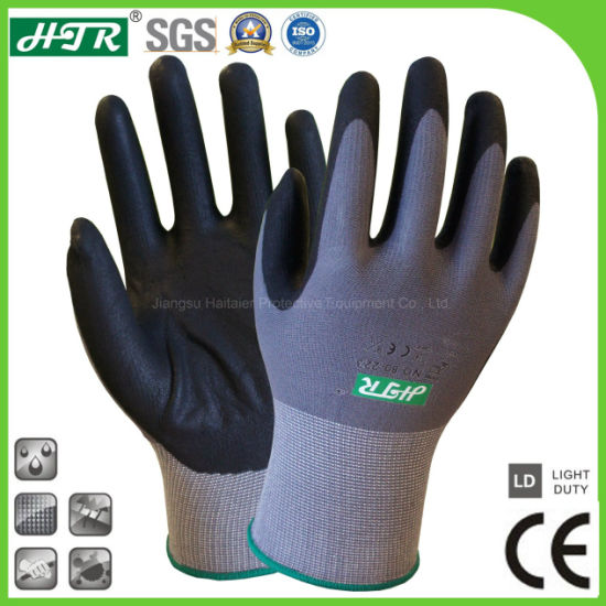 15 Gauge Knitted Foam Nitrile Coated/Dipped Oil-Proof Abrasion Resistant Safety Labor Work Gloves