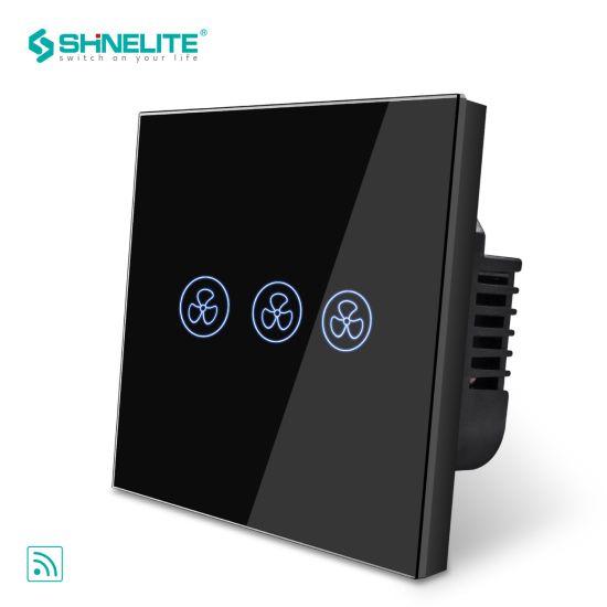 China EU Standard Glass Plate Black Colour Smart Fan Switch - China