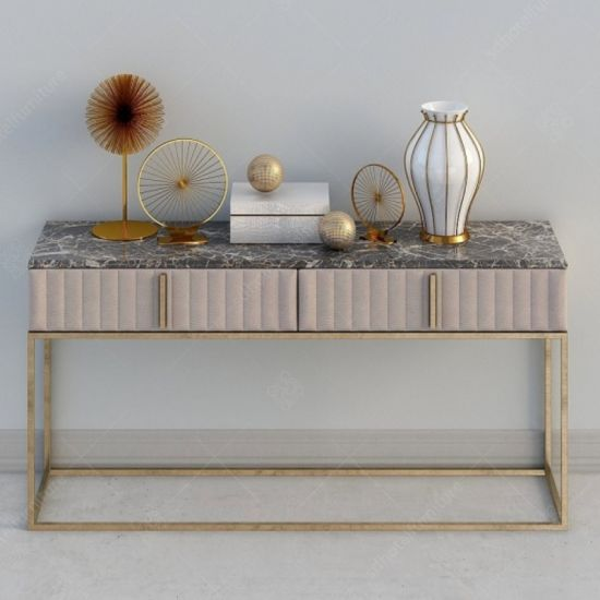 . China Hotel Furniture Lobby Console with Stainless Steel and Wooden
