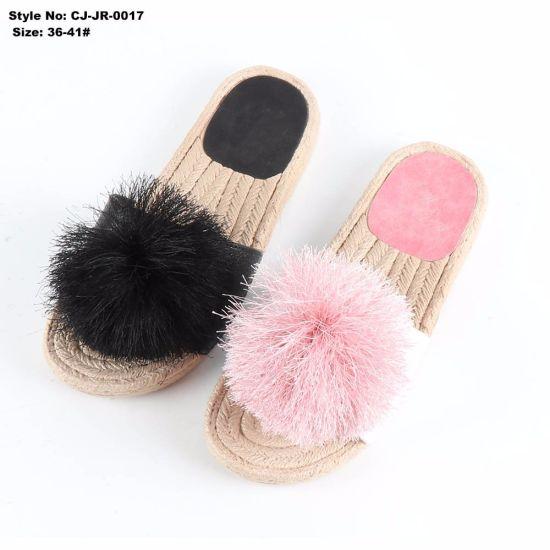 Summer Indoor Custom Logo Faux Fur EVA Plain Slide Sandal for Women