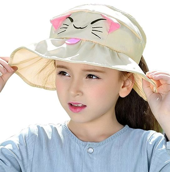 6a98337a11f Kids Girls Wide Brim Visor Sun Hat - UV Protection Foldable Beach Cap  pictures   photos