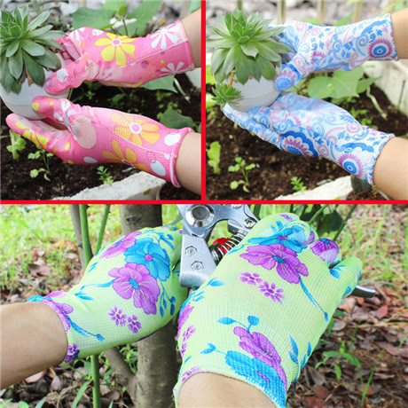 13G Printed Polyester Nitrile Garden Coating Colorful Safety Work Gloves